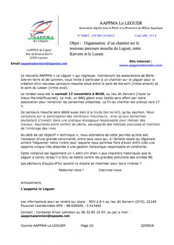 chantier de nettoyage, Léguer, AAPPMA du Léguer, Parcours mouche 2019 du Léguer