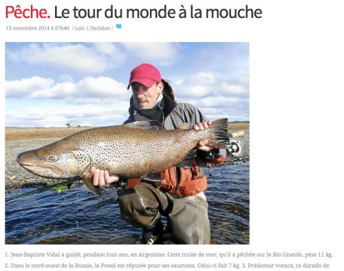 télégramme, article dans la presse, promotion activités ENJOY FISHING, Jean-Baptiste Vidal